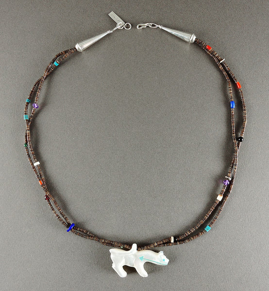 Reversible Mother-Of-Pearl Mountain Lion Pendant Necklace