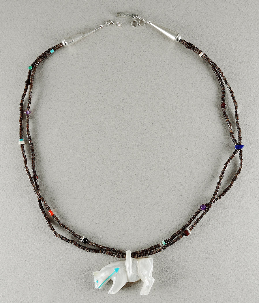 Mountain lion tagged andres quandelacy keshi the zuni connection andres reversible mother of pearl mountain lion pendant necklace aloadofball Choice Image