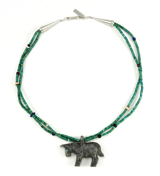 Reversible Picasso Marble Donkey Pendant Necklace