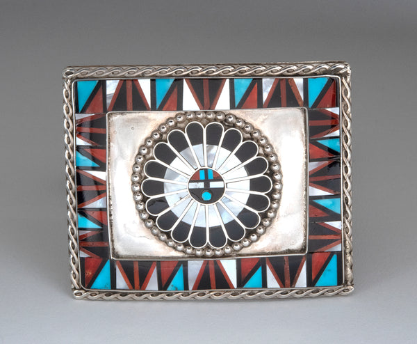 Inlaid Zuni Sunface Belt Buckle