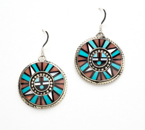 Inlaid Zuni Sunface Earrings