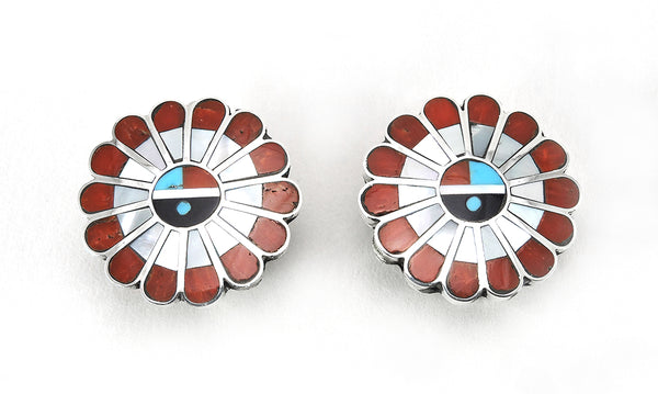 Inlaid Sunface Clip-On Earrings