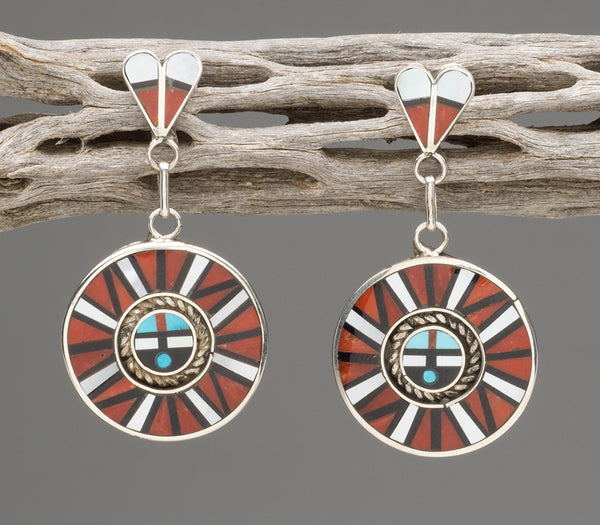 Sterling Silver, Red Coral, Sleeping Beauty Turquoise, Jet & Mother-Of-Pearl Inlaid Sunface Earrings