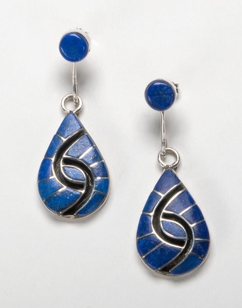 Sterling Silver & Lapis Channel Inlay Hummingbird Earrings