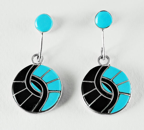 Inlaid Sleeping Beauty Turquoise & Jet Hummingbird Earrings