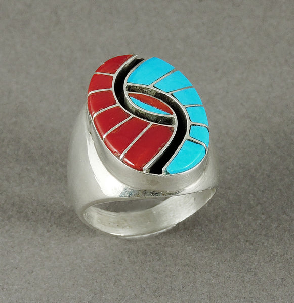 Sterling Silver, Red Coral & Sleeping Beauty Turquoise Hummingbird Ring