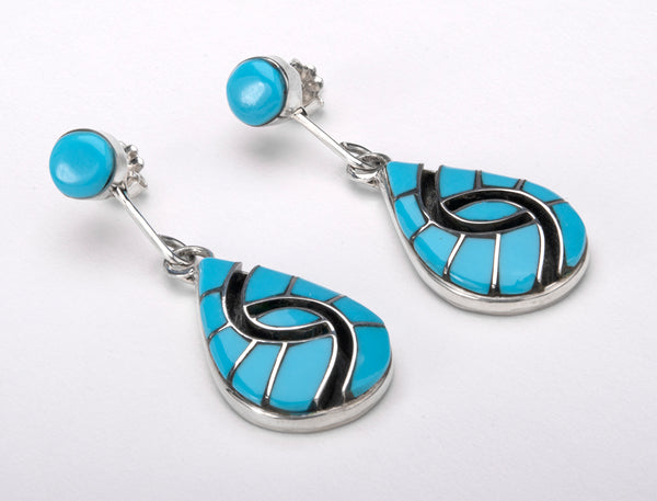 Channel Inlay Hummingbird Earrings Of Kingman Turquoise
