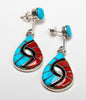Coral and Turquoise Double Hummingbird Earrings