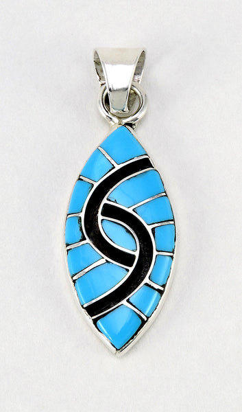 Channel Inlay Hummingbird Pendant Of Kingman Turquoise & Sterling Silver