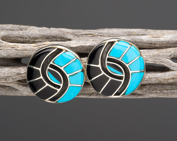 Jet & Turquoise Double Hummingbird Channel Inlay Earrings