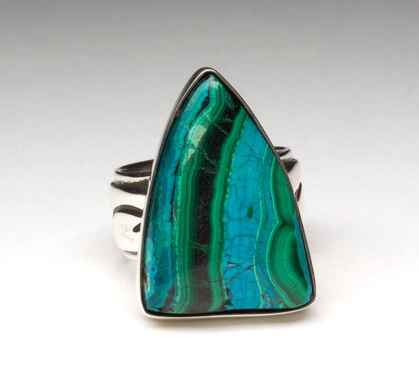 Ancient Congo Malachite With Chrysocolla Ring