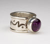 Hand Stamped Sterling Silver & Sugilite Ring
