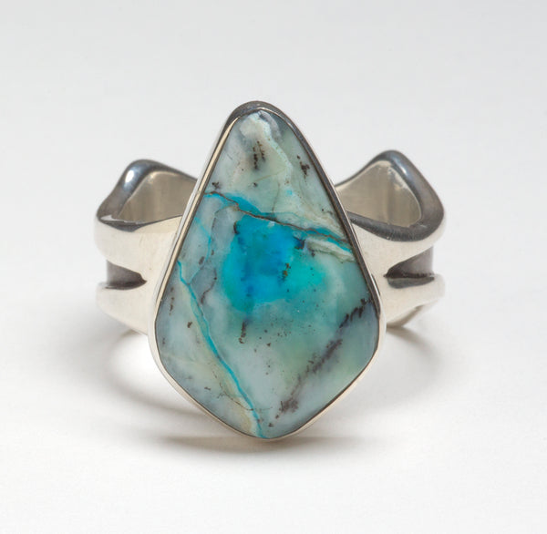 Turkish Blue Dendritic Opal Ring
