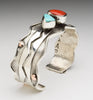 Broken Arrow Turquoise, Red Coral, Copper & Sterling Silver Cuff Bracelet