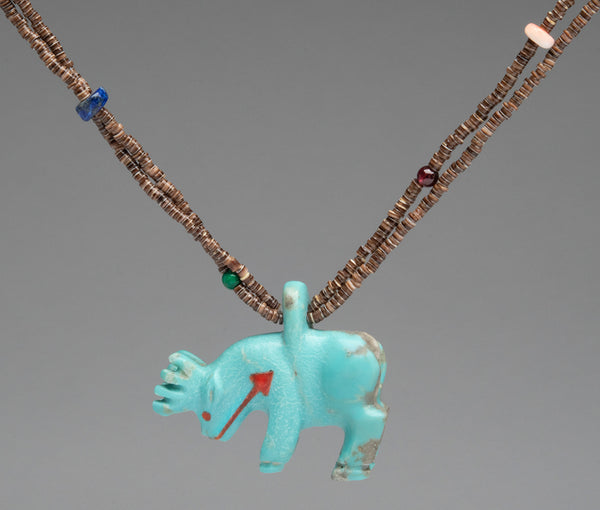 Reversible Turquoise Elk (Or Deer) Pendant Necklace