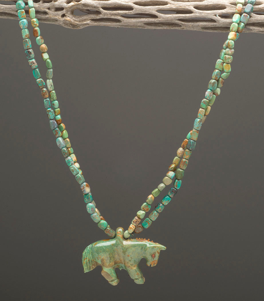 Reversible Turquoise Horse Pendant Necklace