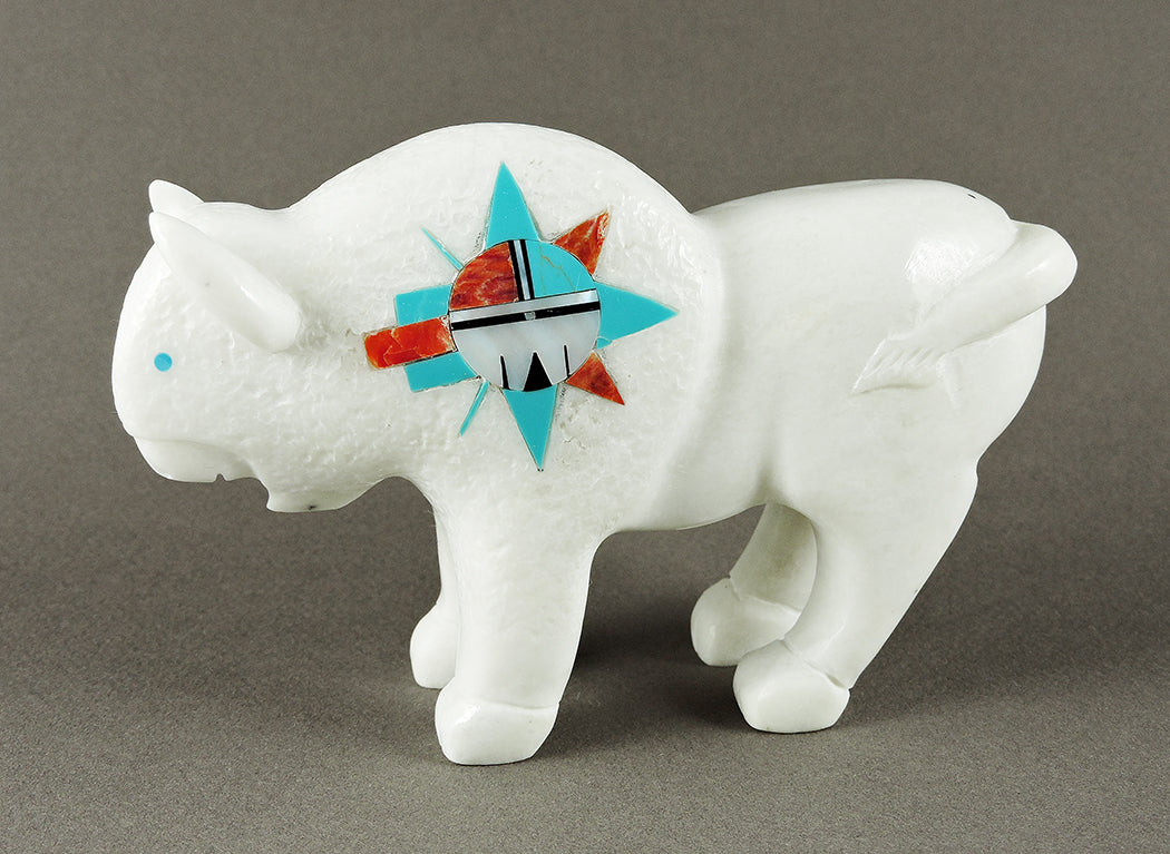 Zuni Sunface Bison Of Marble