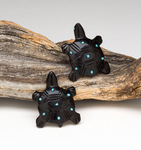 Turquoise Studded Turtle Earrings
