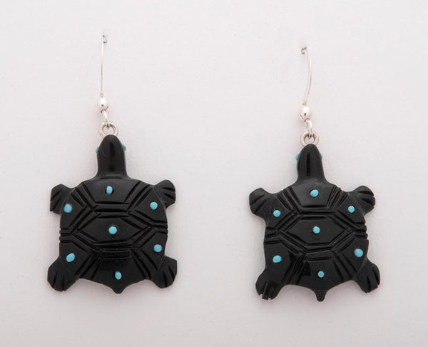 Jet & Turquoise Reptile Earrings