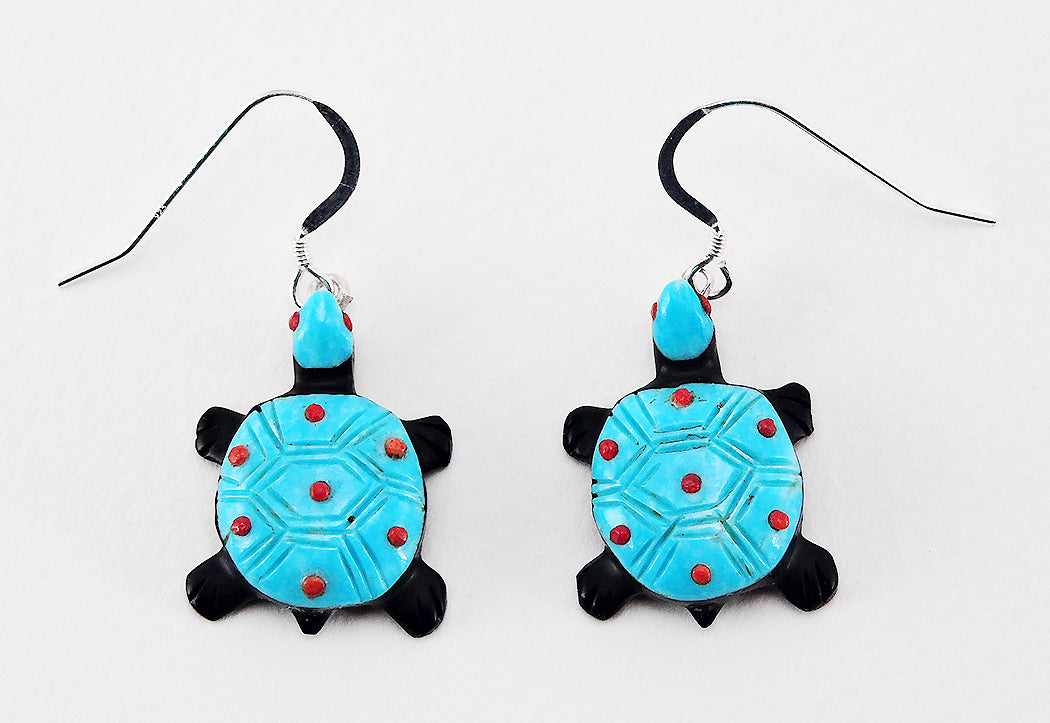 Jet, Turquoise & Red Coral Turtle Earrings