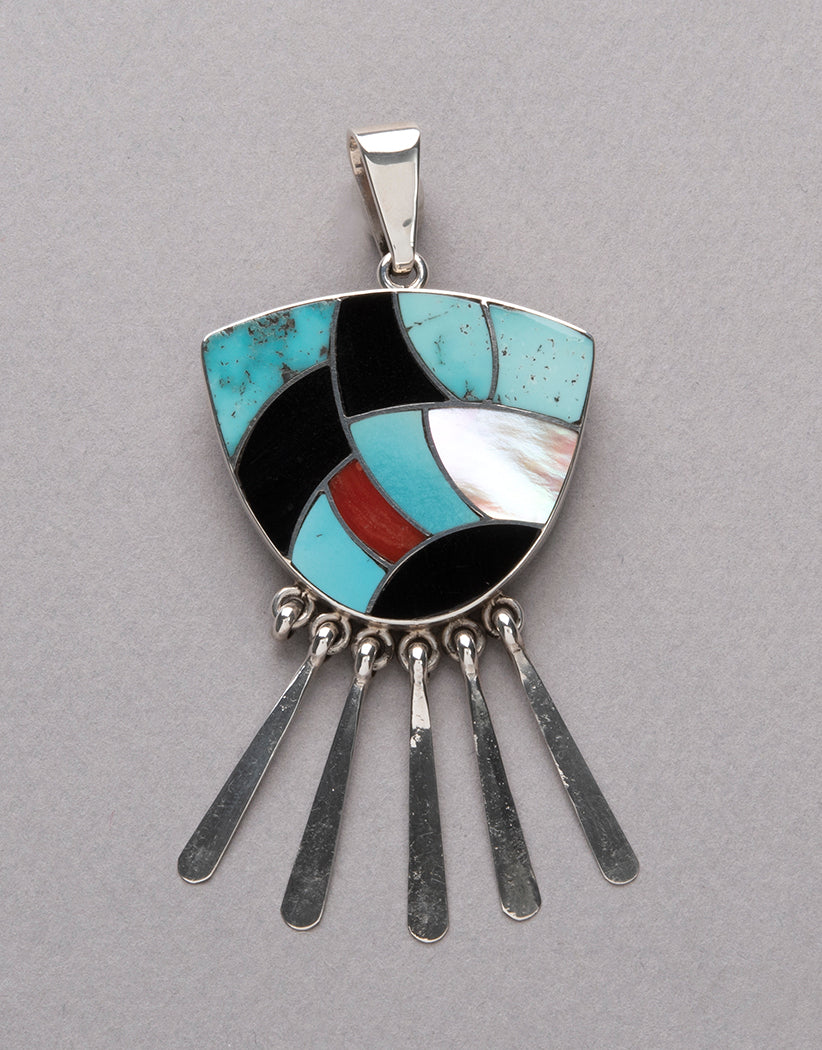Turquoise, Red Coral, Oyster & Jet Inlaid Pendant