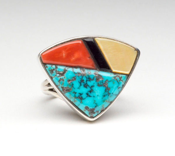 Stone To Stone Inlaid Shield Ring