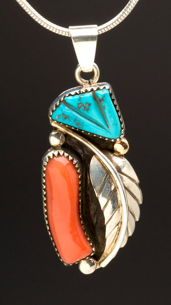 Momo Coral, Sleeping Beauty Turquoise, 14K Gold & Sterling Silver Pendant