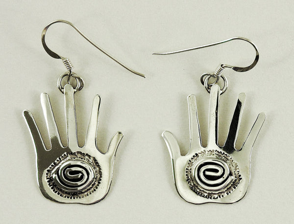 Sterling Silver Hand Earrings With Spiral Element