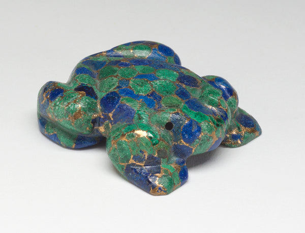 Amphibian Of Azurite, Malachite & Brass Composite