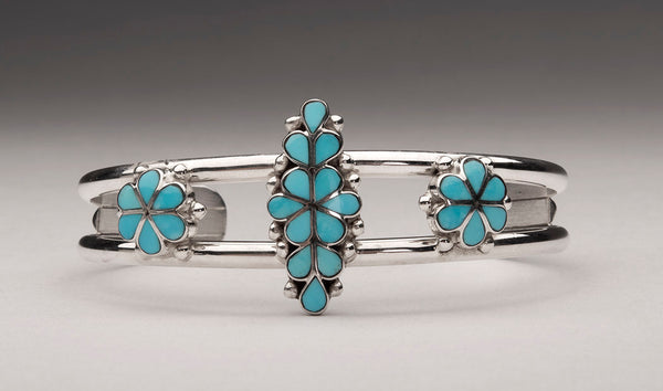 Sterling Silver & Sleeping Beauty Turquoise Flower Cuff Bracelet