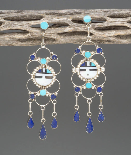 Sunface Earrings With Lapis, Turquoise & Shell