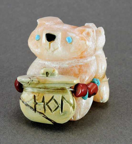 Alabaster Bears With Honey Pot Of Picture Jasper