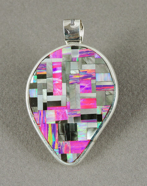 Mesmerizing Reversible Pendant Of Lab Opal & Shell