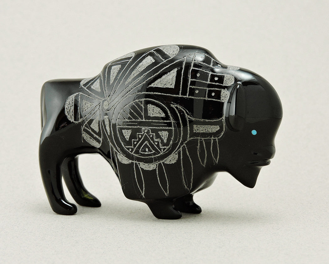 Sgraffito Bison Of Black Marble