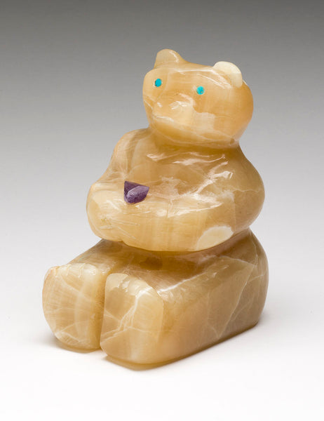 Onyx Bear With Amethyst Offering
