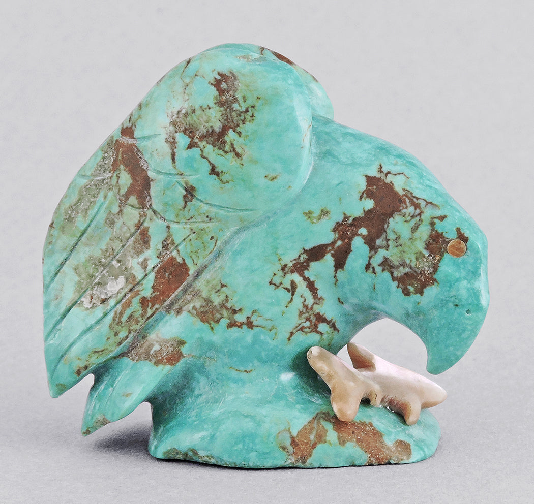 Perched Turquoise Eagle with Fish