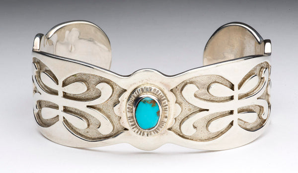 Zuni Lace Cuff Bracelet With Candelaria Turquoise