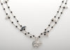 Double Strand Sterling Silver & Jet Bear Pendant Necklace