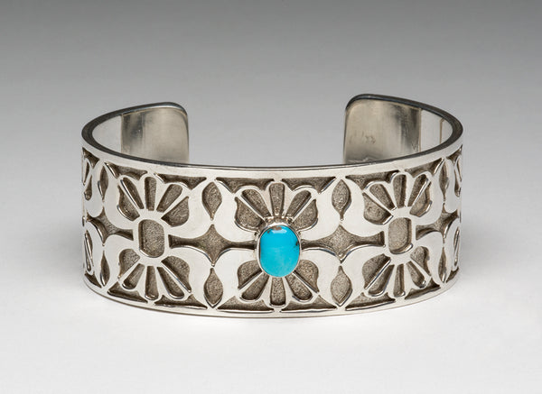 Sterling Silver Zuni Lace & Candelaria Turquoise Cuff Bracelet
