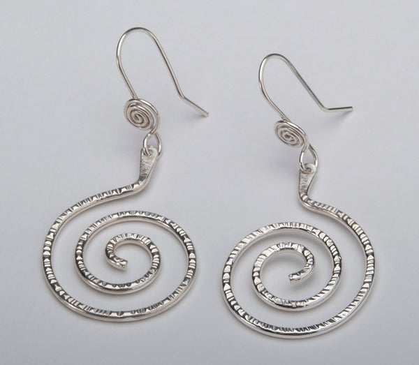 Contemporary Sterling Silver Spiral Earrings