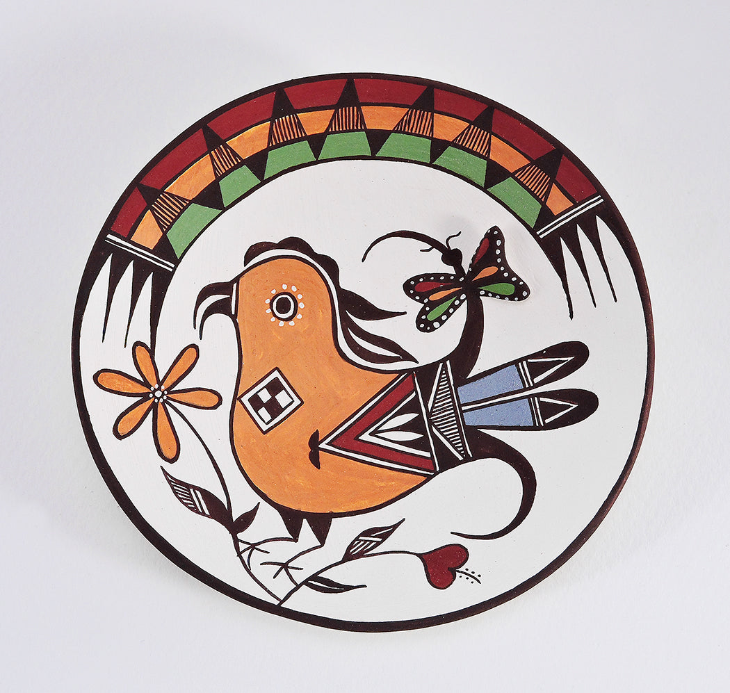Acoma Bird & Butterfly Pottery Plate