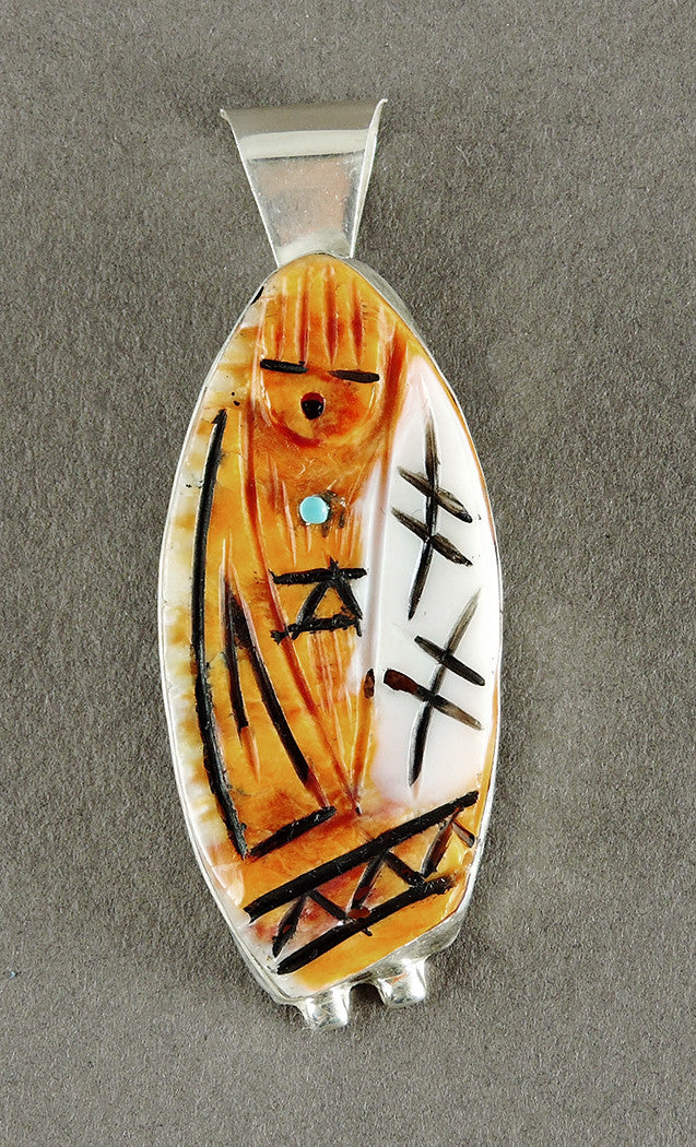Orange Spiny Oyster Shell Grandmother Pendant