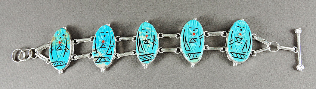 Sterling Silver & Sleeping Beauty Turquoise Grandmother Link Bracelet