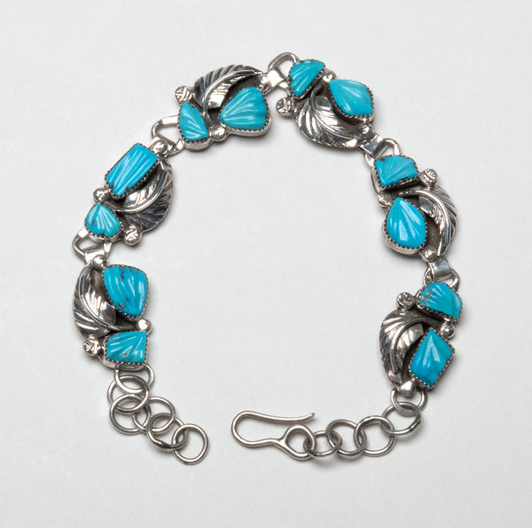 Sterling Silver & Sleeping Beauty Turquoise Carved Leaf Link Bracelet