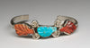 Carved Fox Turquoise & Spiny Oyster Shell Cuff Bracelet