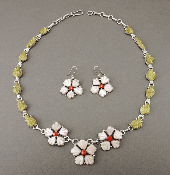 Cherry Blossom Necklace & Earrings Set Of Gem Serpentine, Pink Mussel Shell & Red Coral