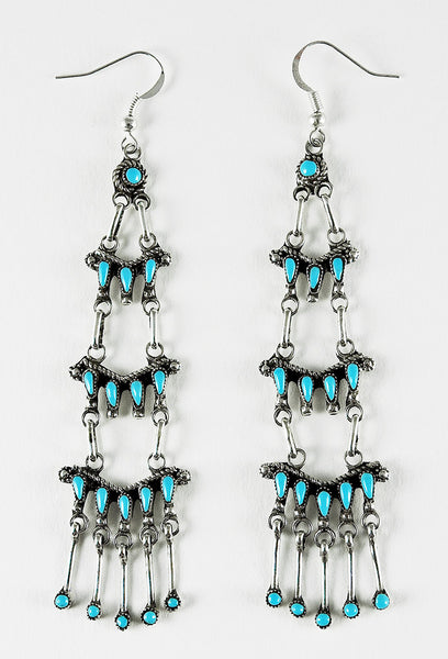 Sterling Silver & Sleeping Beauty Turquoise Petit Point Chandelier Earrings