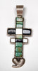 Reversible Sterling Silver, Turquoise, Mother-Of-Pearl & Jet Pueblo Cross Pendant