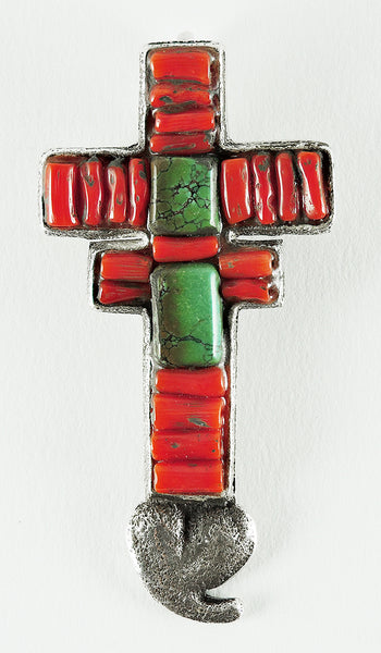 Silver, Red Coral & Green Turquoise Pueblo Cross Pin/Pendant