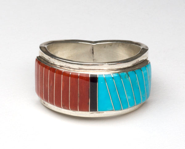 Sleeping Beauty Turquoise, Jet & Red Coral Inlaid Ring